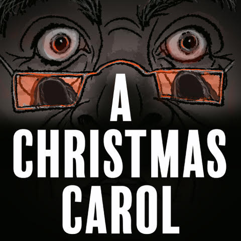 Focus on two eyes with glasses on the bridge of his nose. The reflection in the glasses appear Ghost of Christmas Future with A Christmas Carol in text below