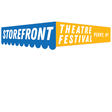 """Storefront awning that says """"Storefront (in blue) Theatre Festival (in yellow)"""" Perry NY."""